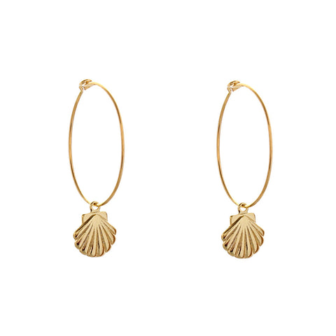 HOOP EARRINGS - SHELL, LARGE HOOP