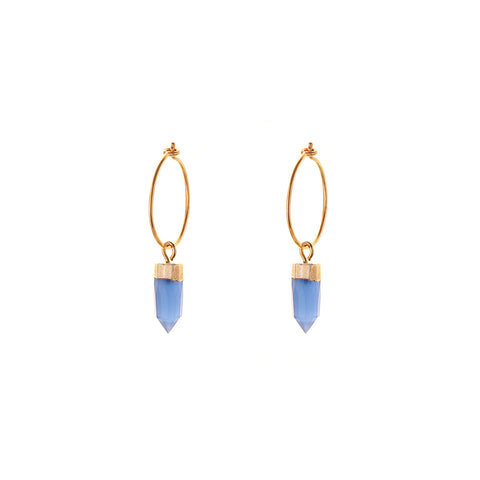 HOOP EARRINGS - small hoop - mini spike | sky blue