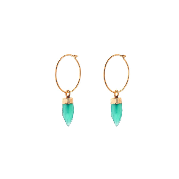HOOP EARRINGS - small hoop - mini spike | emerald