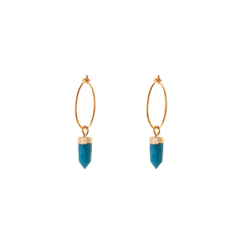 iona HOOP EARRINGS - small hoop - mini spike | turquoise