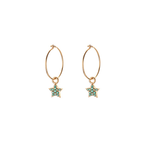 HOOP EARRINGS - small HOOP, as shown - star - emerald