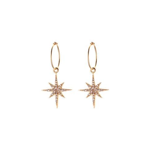 Astra starburst HOOP EARRINGS - small hoop - midnight starburst