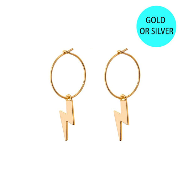 HOOP EARRINGS - small hoop - light thunderbolts/ Lightning bolt / gold / Emilia Fox
