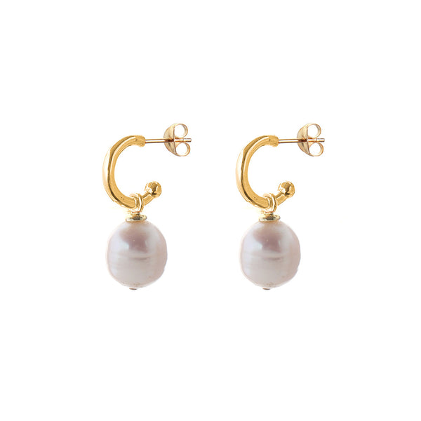 pearl hoops with drop earrings