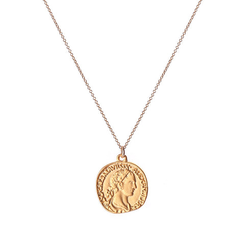 astra coin NECKLACE - GOLD, plain - large