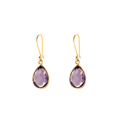 peardrop earrings - amethyst