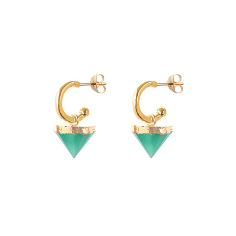 HOOPS - Xanthe mini HOOP spike EARRINGS - emerald green