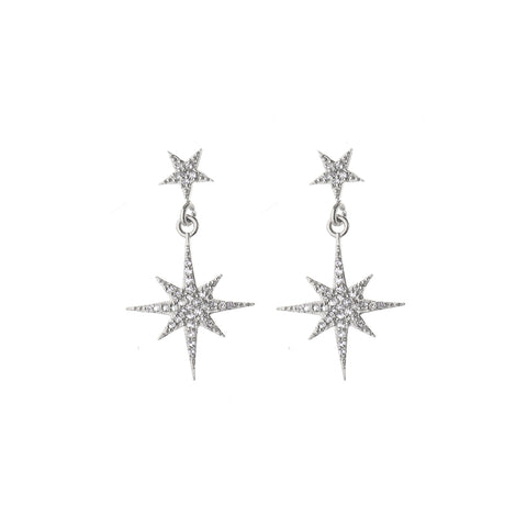 Astra starburst studs with drop - silver