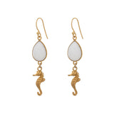 Marina seahorse EARRINGS - white