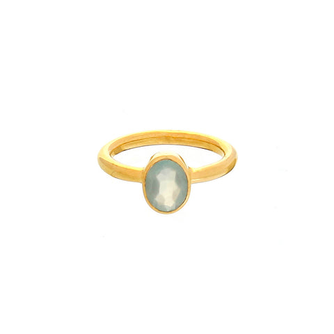 oval stacking ring, aqua chalcedony