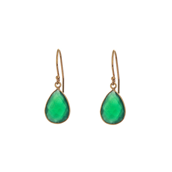 peardrop earrings - emerald green