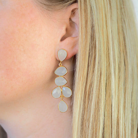 SERAPHINA chandelier EARRINGS - moonstone