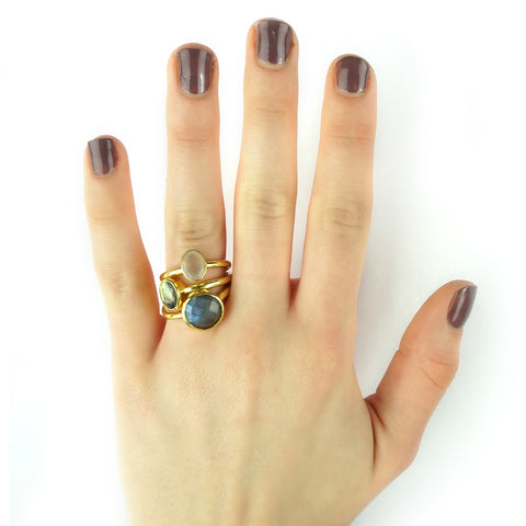 stacking rings, semi-precious stones