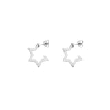 HOOP EARRINGS | wider | star - silver