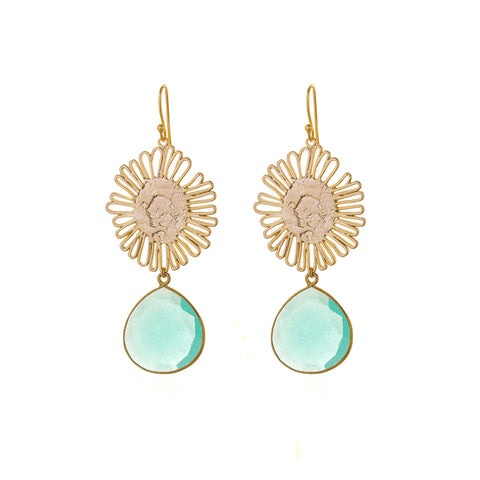 Sunflower EARRINGS - aqua