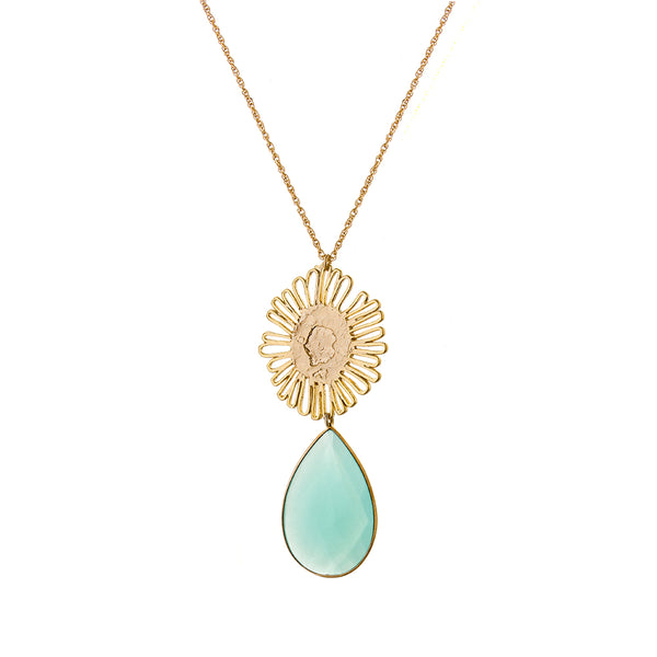 serena Sunflower necklace - aqua