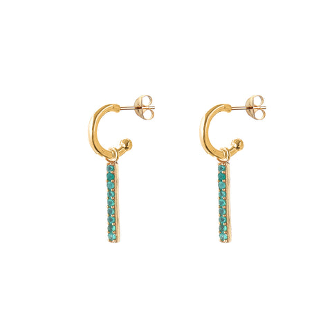 alissa emerald HOOP EARRINGS - small hoop - lines / SMALL HOOP / gold / dark green