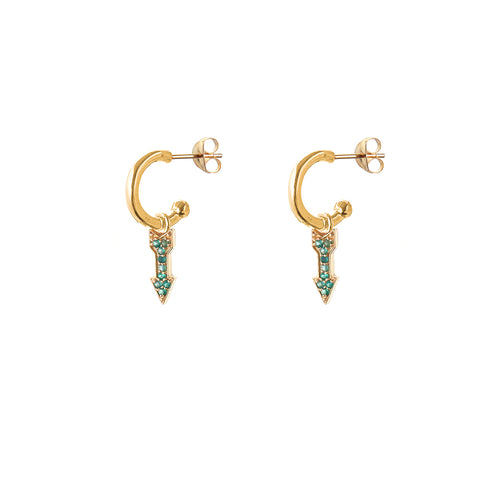 alissa - clear or emerald HOOP EARRINGS - small hoop - arrows / SMALL HOOP / gold /