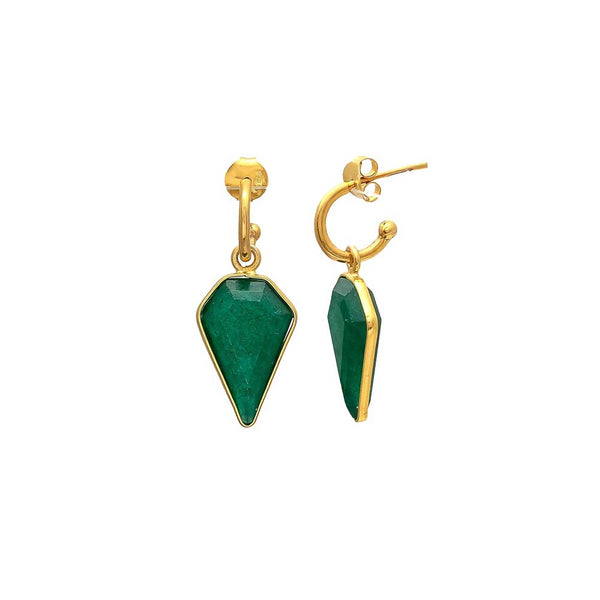 HOOPS - xanthe HOOP spike EARRINGS - emerald