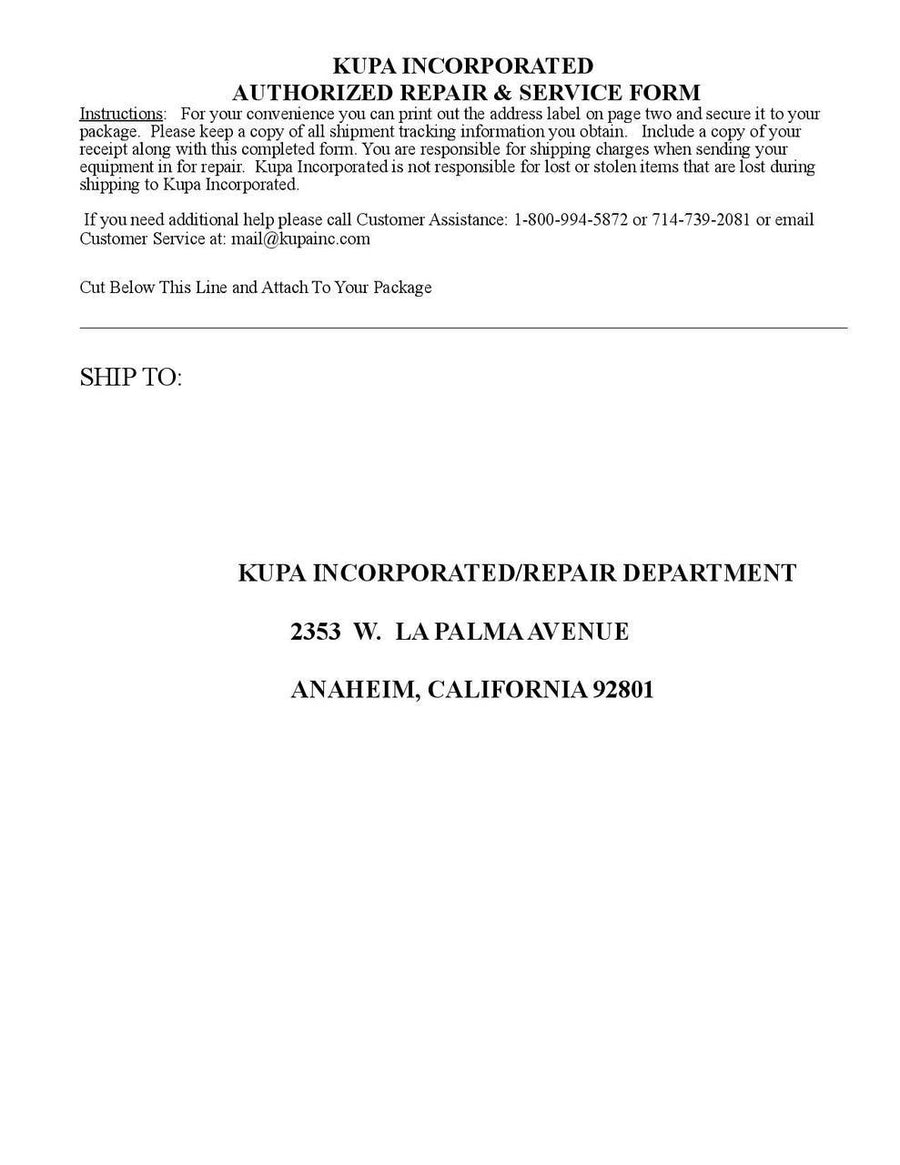 KUPA Repair Form (Download And Print) ...