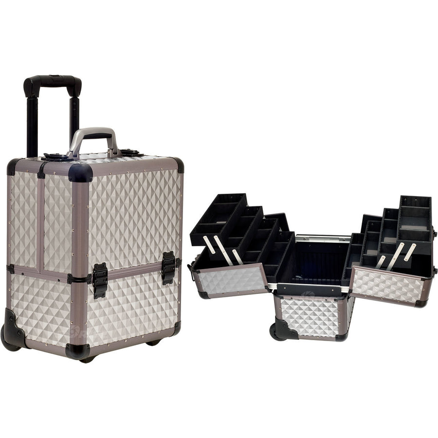Grey Diamond Trolley Rolling Professional Nail Case