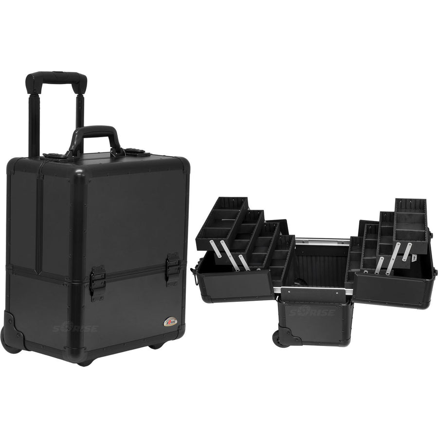 Black Smooth Trolley Professional Nail Case