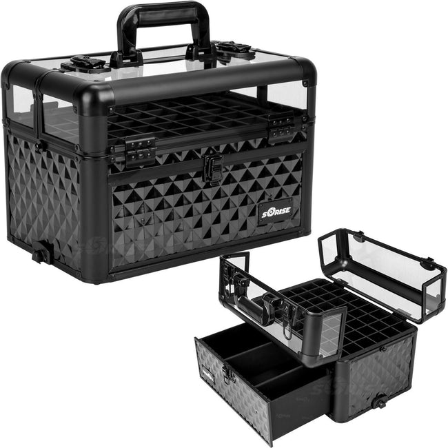 Black Diamond Clear Top Professional Nail Case