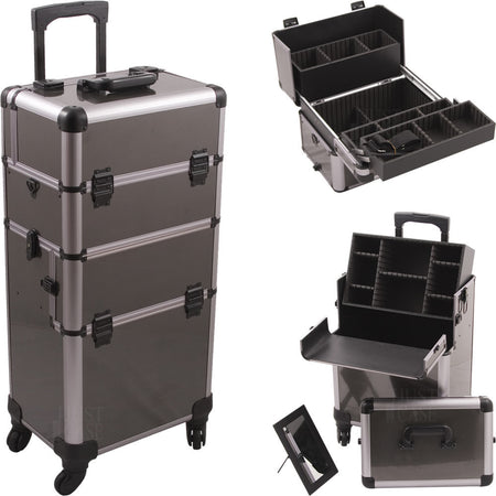 Gun Metal Professional 4-Wheel Nail Case