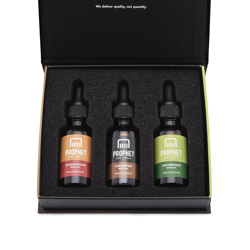 3 Beard Oils Set (Sandalwood, Unscented and Cedarwood)