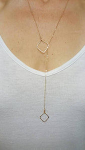 Long Square Lariat Necklace