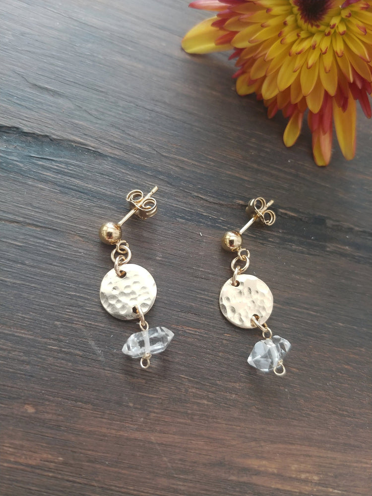 Herkimer Diamond (Quartz) Disk Stud Earrings
