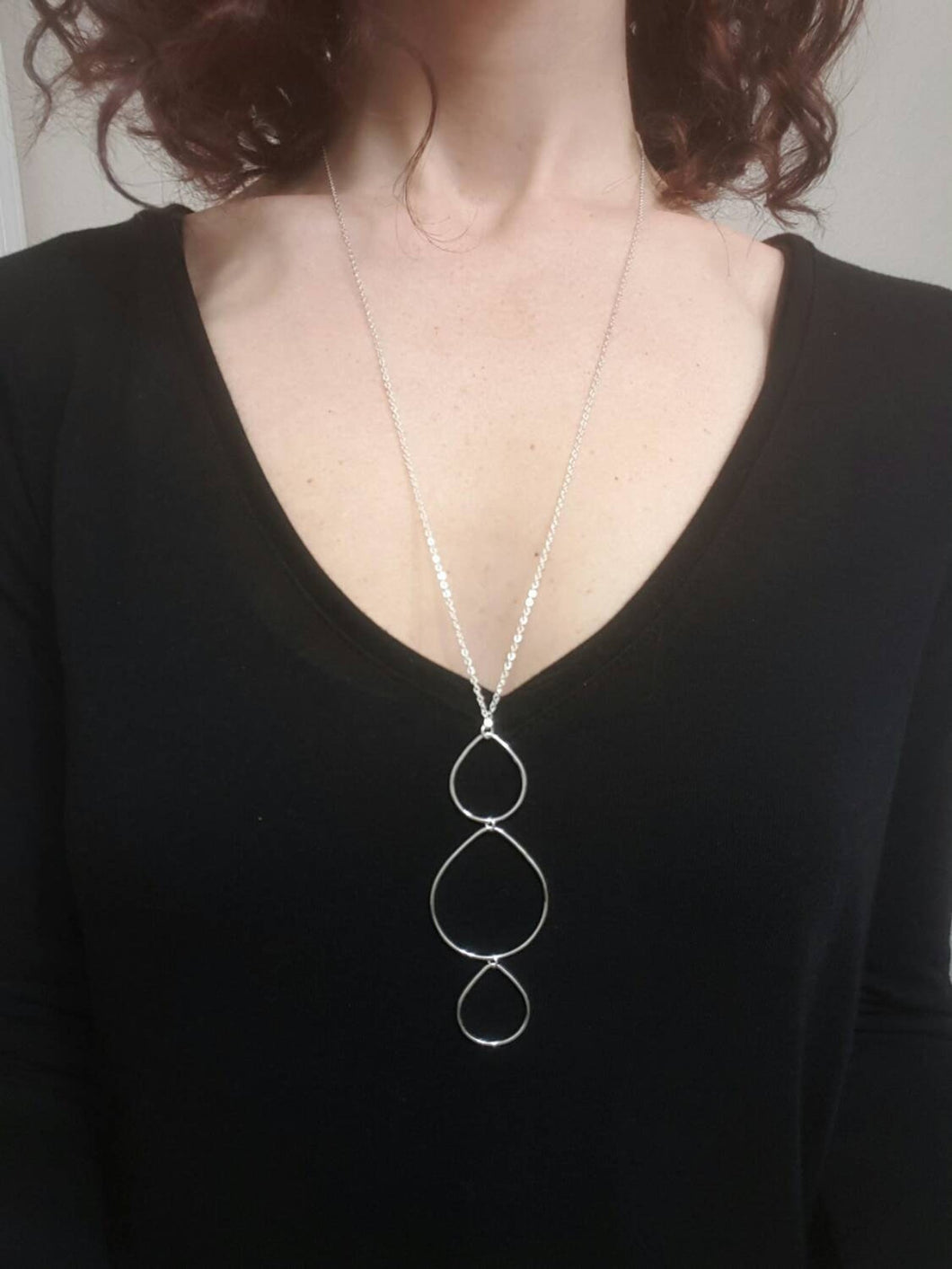 Long Triple Teardrop Necklace