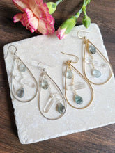 Load image into Gallery viewer, Moss Aquamarine Quartz Hoops