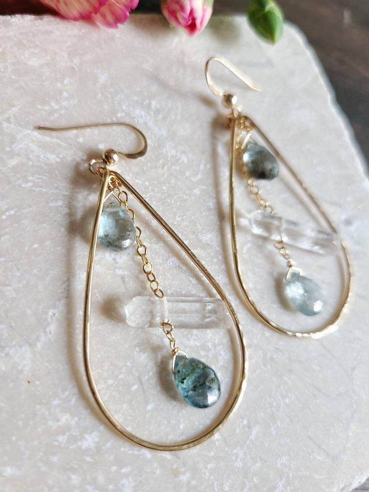 Moss Aquamarine Quartz Hoops