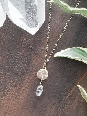 Herkimer Diamond (Quartz) Disk Necklace