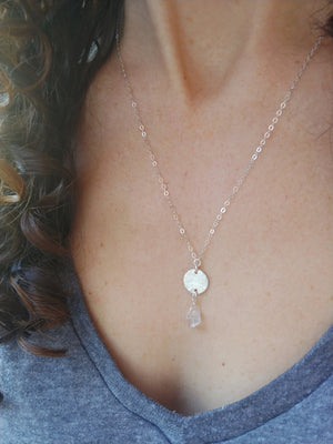 Load image into Gallery viewer, Herkimer Diamond (Quartz) Disk Necklace