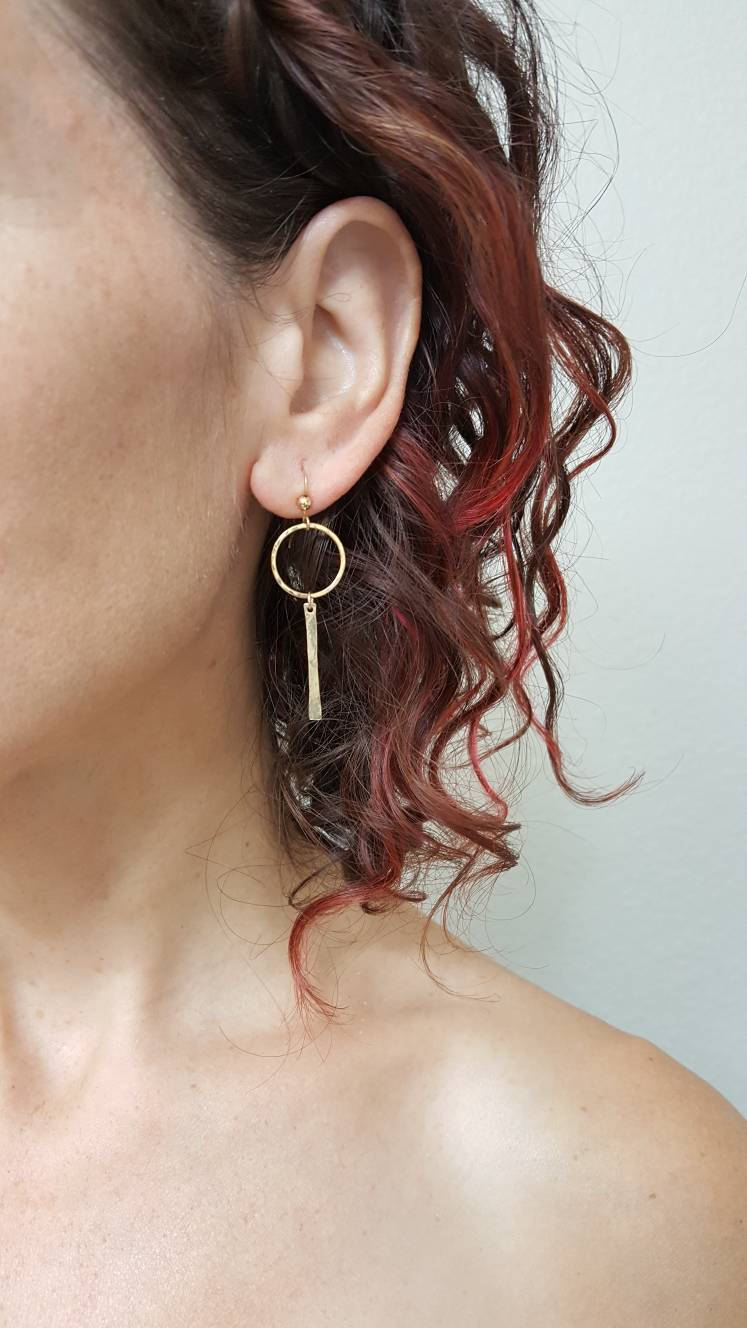 Circle Earrings with a bar, Sterling Silver and 14 K Gold Filled.