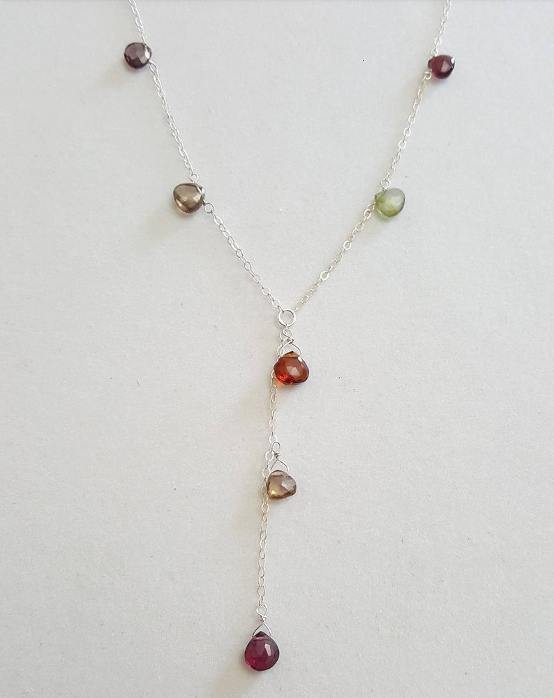 Load image into Gallery viewer, Multi Garnet Y Necklace (Sterling Silver)