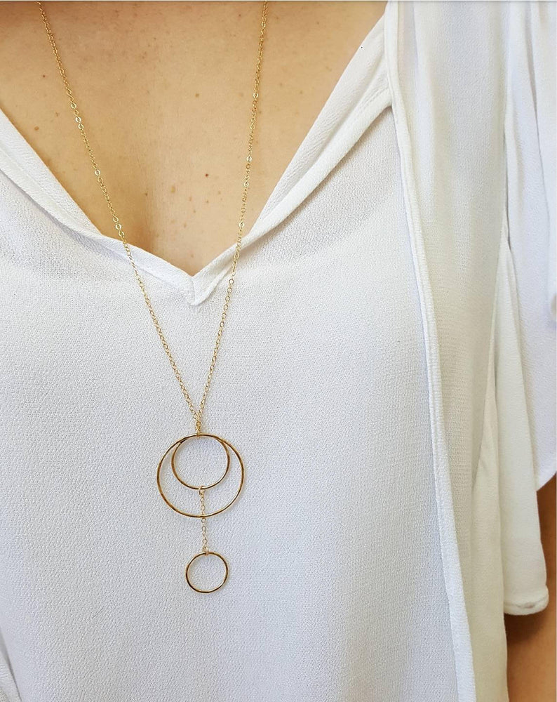 Long Multi Drop Circle Necklace