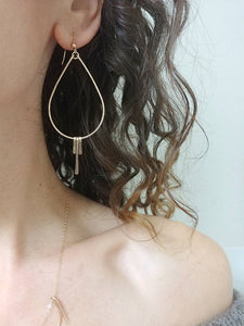 Fringe Dangle Hoop Earrings