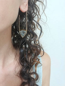 Chevron Labradorite Stud Earrings