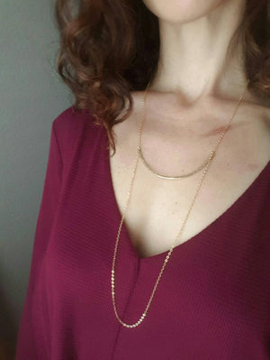 Long Gold Filled Curved Bar Necklace