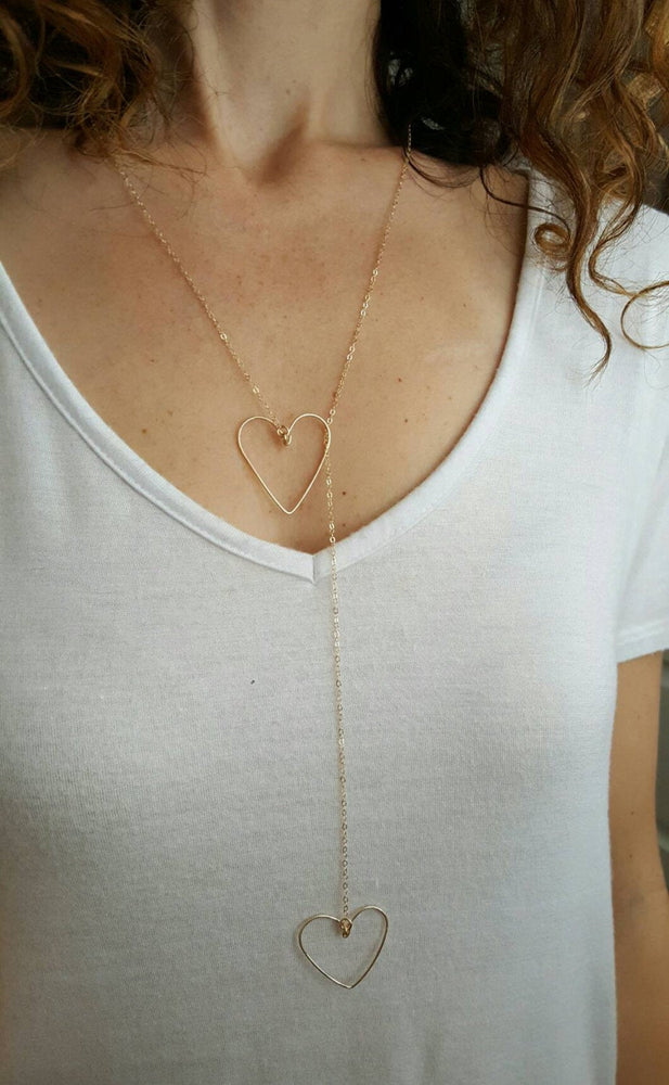 Load image into Gallery viewer, Heart Lariat Necklace