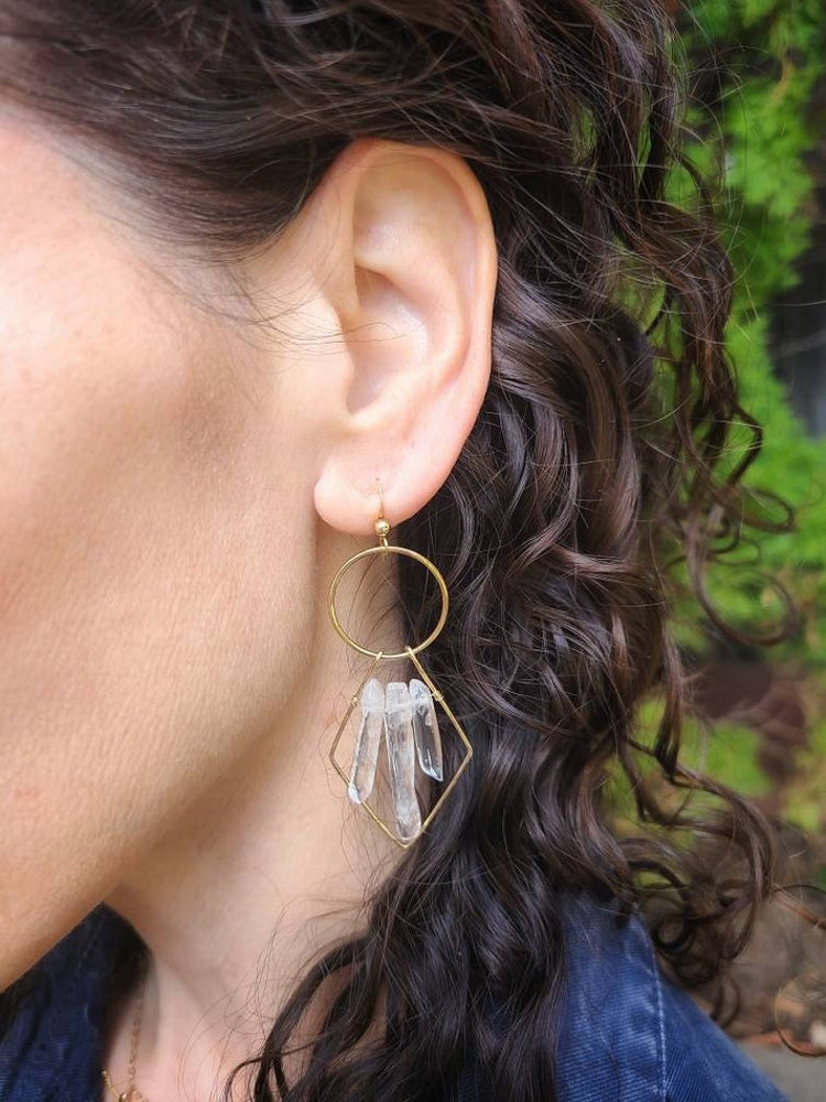 Geo Quartz Earrings