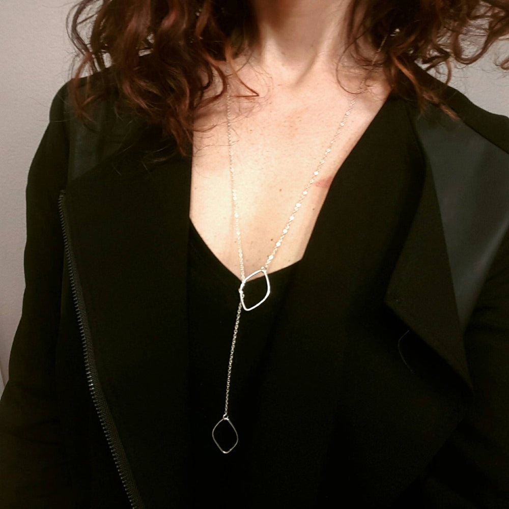Load image into Gallery viewer, Lariat Diamond Shape Necklace
