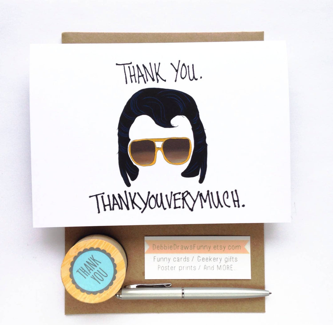 Debbie Draws Funny - Thank You Thankyouverymuch Funny Thank You Card
