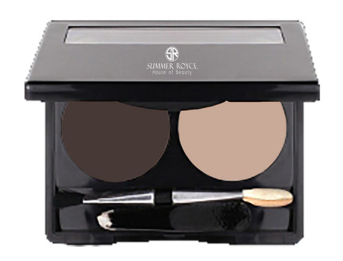 Summer Royce, House of Beauty, Luxe Hi-Brow Pallet, Powder and Wax, tweezers included, wax pomade, powder, brow powder, brow wax, brown black, angle applicator, 2 pallet