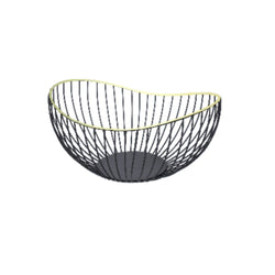 Fruit Basket - Metal Black with Gold Trim