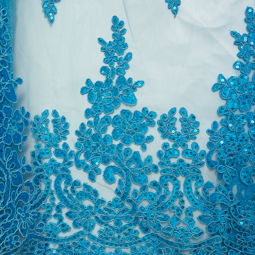 Embroidered Tulle - Blue Star-Leaf