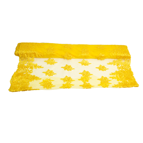 Embroidered Tulle - Yellow Star-Leaf